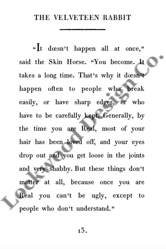 Velveteen rabbit and coloring pages ~ Poster Velveteen Rabbit Becoming Real Quote