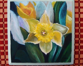 Sunny Daffodil Wood Painting
