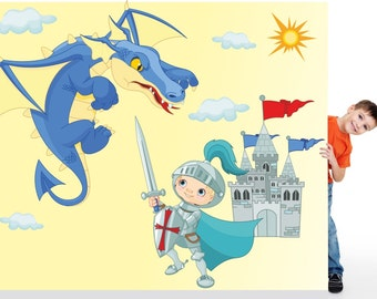 041 wall decals Knight with Dragon and Castle * nikima * in 6 verse. Sizes