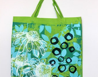 Daisy tote bag in lime green
