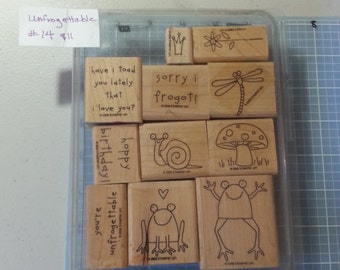 """Stampin Up! Mounted, Used, Retired Stamp set """"Unfrogettable"""""""