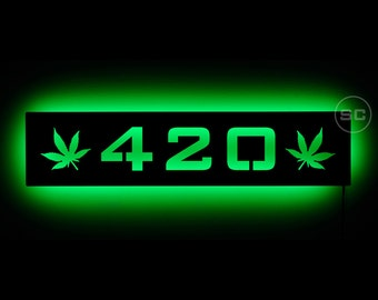 Lighted 420 Pot Leaf Sign - Marijuana and Ganja Leaf Sign - Bright Green for your Smoke or Grow Room