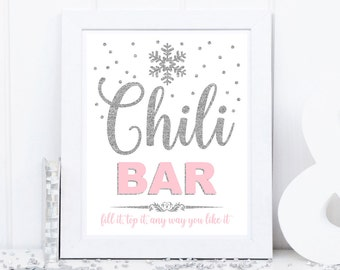 Chili bar sign, table food sign, winter onederland party table decoration, silver and pink, baby shower, bridal shower, birthday party