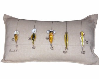 "FISH LURE PILLOW Cover, Yellow Crankbait Pillow Sham, Original Design (12"" x 20"") Cover Only"