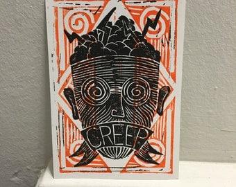CREEP #2 / hand pressed block print Linocut