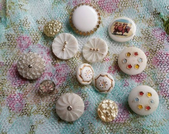 Vintage glass buttons circa 1960s