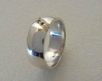 925 Silver with 333 gold band ring