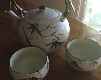 Japanese stoneware teapot and cups