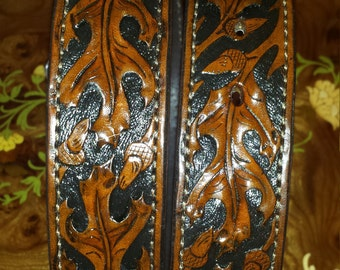 "hand frabicated, hand made ""lifted"" oak leaf belt Herman Oak Leather"