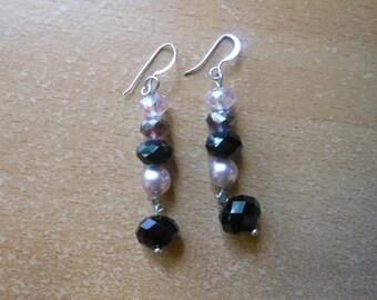 Crystal 6cm dangle earrings 925 earwires