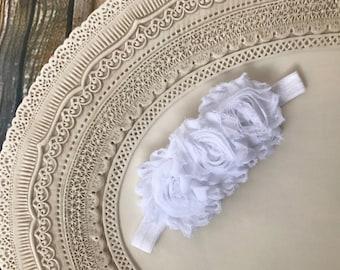 Shabby Chiffon Rosette Flowers Baby Headband