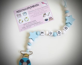 Clip pacifier custom MICKEY wooden beads
