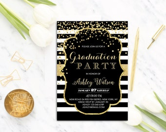 Graduation Party Invitation - Graduation Invitations - College Graduation Party Invitation - Printable graduation invitations , Gold glitter
