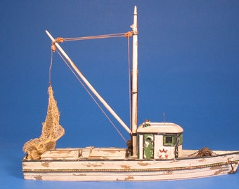 HO 1:87 scale 56' Fishing Boat Kit, waterline hull for model railroad, diorama