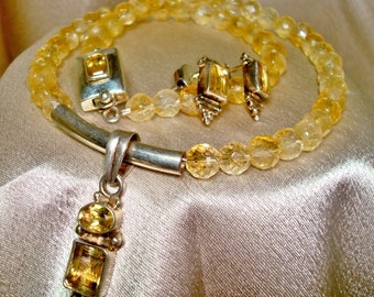 Genuine Citrine gemstone and Sterling Silver necklace with matching earrings