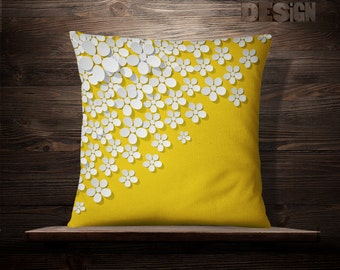 Daisies On Edge | White Pattern | White Throw Pillow | White Pillow Case | White Throw Pillow | White Cushion | Cushion | Daisies | Flowers