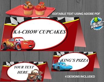 Disney Cars, Instant, Food Tents, Tag, Label, Birthday, custom, invitation, Editable, Sticker, Favors, Table tent, Lightning, Mater