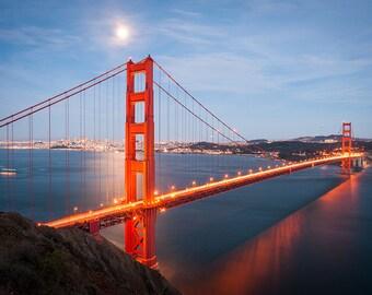 "Golden Gate Bridge at Full Moon (8x12"")"