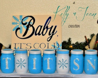 Decor Holiday Mason Jar Set-Let It Snow