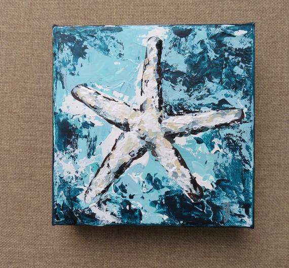 Starfish Painting/Beach House Style Art/Nautical Original Art/Coastal Art/Small Beach Painting/Starfish Art