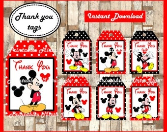 Mickey Mouse Thank you Tags, printable Mickey party Thank you Tags, Mickey Mouse gift tags