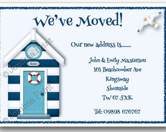 Printed Personalised change of address new home moving house cards Beach Hut x10 with envelopes