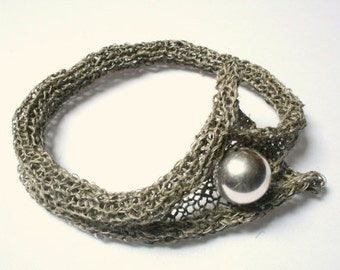 Exclusive  Crochet Fish Net Necklace and Bracelet with Silver Pearl