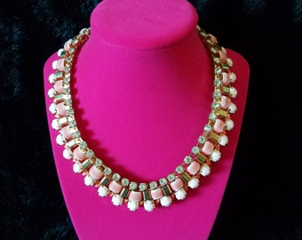 Simply Stunning! Vintage 1960's Statement Necklace - Rhinestone/Faux Diamond, Pink Velvet Ribbon, Retro White Bead and Gold Tone Bib.