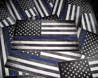 Thin Blue Line Sticker - Blue Vintage American Flag - Back the Blue POLICE Bumper Decal