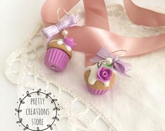Lilac cupcakes earrings