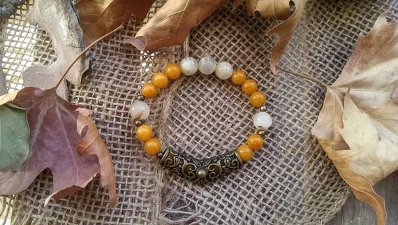 Handmade Jade and White Coral Stretchy Bracelet Semi-Precious Round Beads
