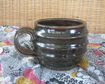 Ribbed Brown Freckle Mug - Handmade Pottery Mug, 10-12 oz Great for coffee, cappuccino or tea