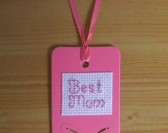 Best Mum Stitched Tag ~ Gift Tag ~ Present Label ~ Place Card ~ Birthday ~ Celebrations ~ Occasion