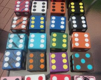 Yard Dice! Yard Yahtzee 6 dice included. Farkle, Jumbo Yahtzee.  Great for Gifts, Camping, Weddings, Birthdays, Christmas! Football colors