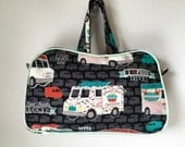 Food Cart Food Truck vintage style handbag with top zipper, handles, piping, five pockets