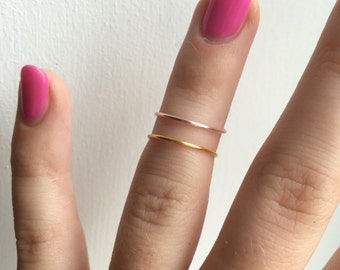 Two Midi Rings Gold and Rose Gold - Ring Set - Stackable Rings - Knuckle Rings