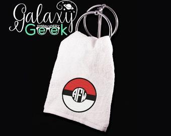 Pokemon Go monogram embroidered towels pokemon gifts pokeball bathroom towels Geek gift pokemon clothing pokemon go gifts pokeball monogram