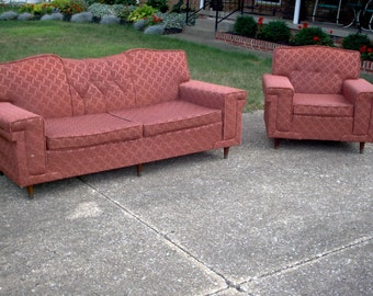 Vintage Mid Century Modern Sofa / Couch & Chair - 1950's / 1960's