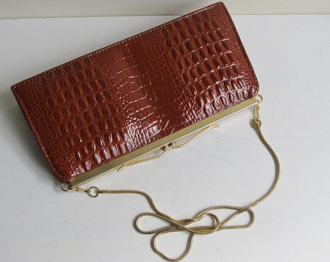vintage faux croc shoulder bag, autumnal fashion statement, clutch purse evening bag
