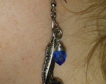 Blue Crystal Feather Dangle