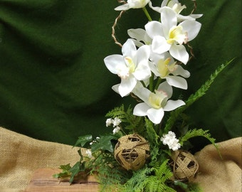High style orchids on cedar wood