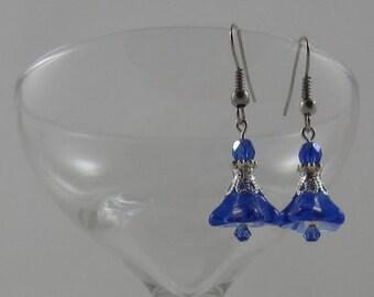 Cobalt Blue Czech Glass Blown Flower Earrings