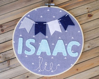 """8"""" embroidery felt hoop, personalized name with banner"""