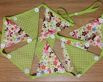 Embellished Fabric Bunting - Green Birds