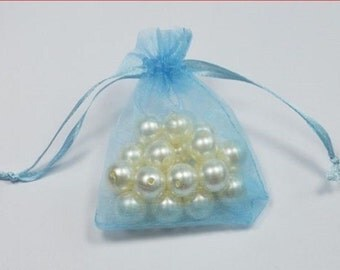 BABY BLUE - Organza Bags 7cm x 9cm For Wedding Favours, Jewellery, Gifts