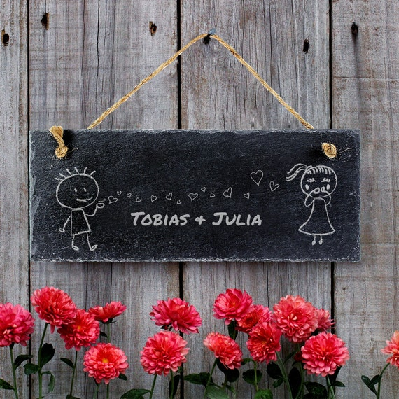 Personalised Door Sign - Engraved with Names  - Slate Sign for Couples – Housewarming Gifts