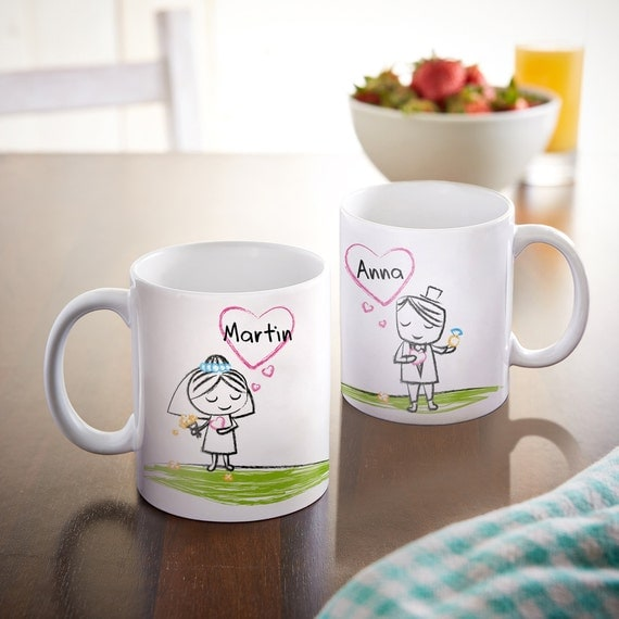 Set of 2 Coffee Mugs  - Personalised with Names - Newly Weds - Bride and Groom