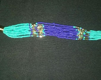 Turquoise & Royal Blue Seed Beaded Bracelet