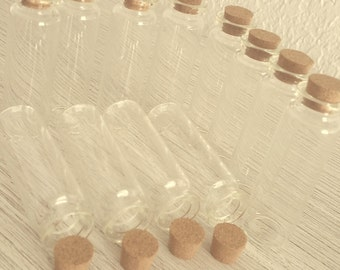 "12 glass vials 3"" with cork stoppers"