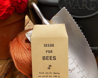 10 x Personalised Wedding Favour Seed Packets  - 'Seeds For Bees'